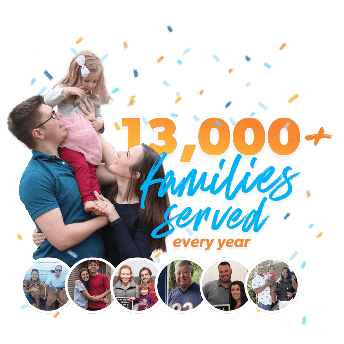 13,000 + families served