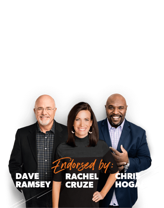 A photo of Dave Ramsey, Rachel Cruze, and Chris Hogan