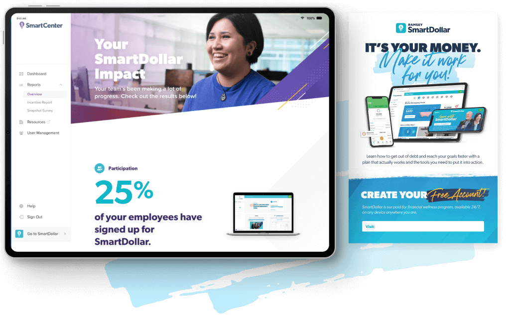 An Ipad mockup with the SmartCenter review snapshot and a digital pdf flyer.
