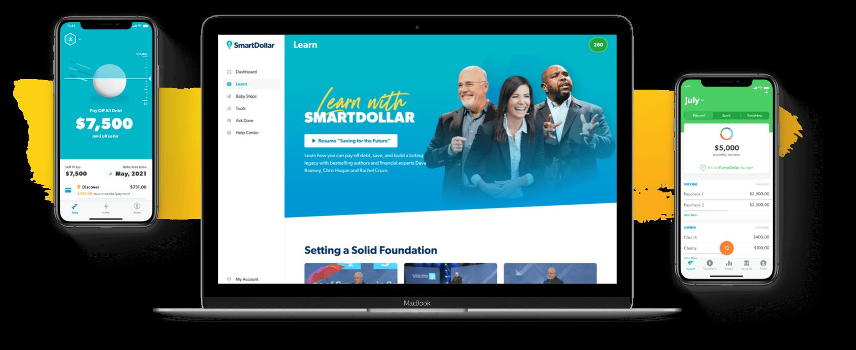 SmartDollar program viewed on lap top and mobile screens.