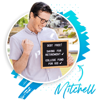 Mitchell is debt free, saving or retirement, and has a college fund for his kid!
