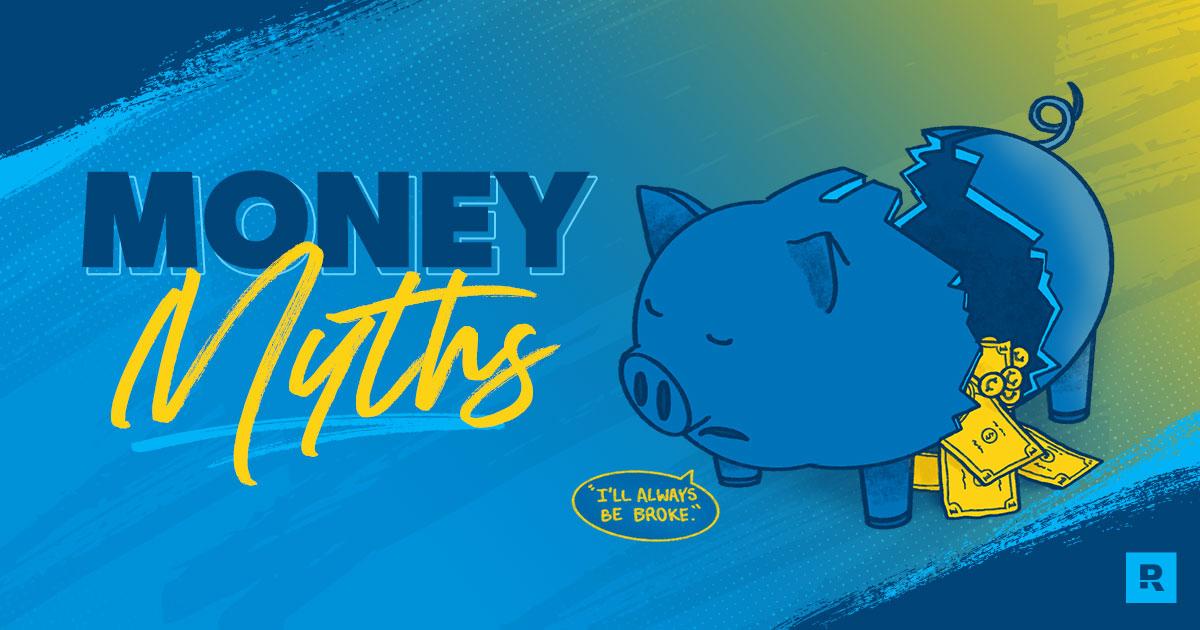 Broken Piggy Bank with text,