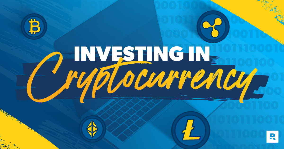 An illustration of a computer with icons of crypotocurrency logos, including Bitcoin, with text that reads Investing in Cryptocurrency