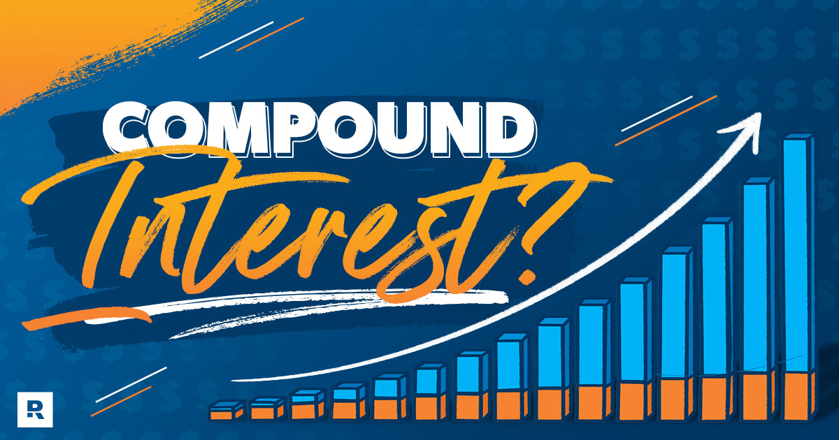 An image has shapes and various phrases to describe compound interest.