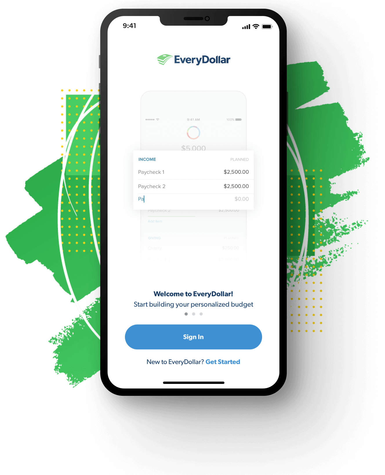 EveryDollar app onboarding screen