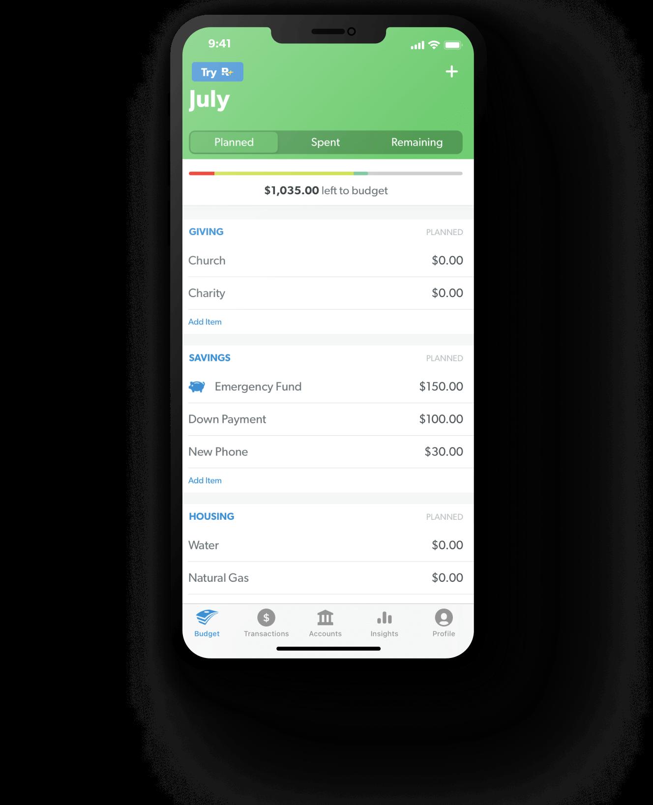 EveryDollar app budget view screen