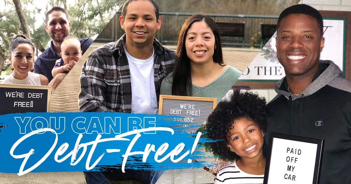 Photos of people who have become debt-free.