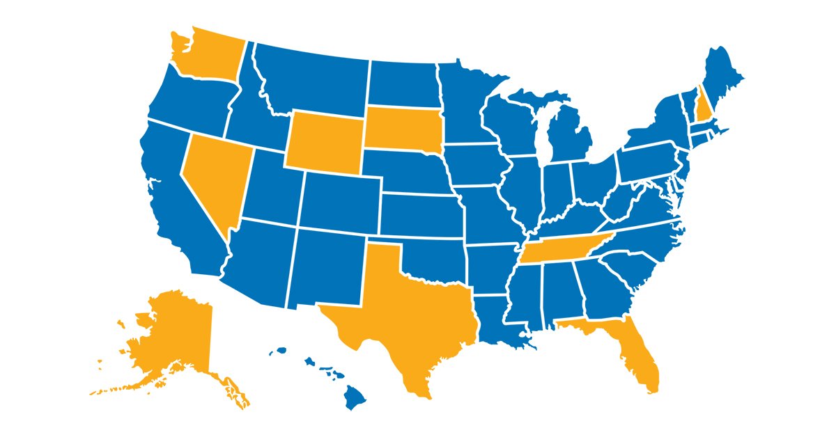 State income taxes map