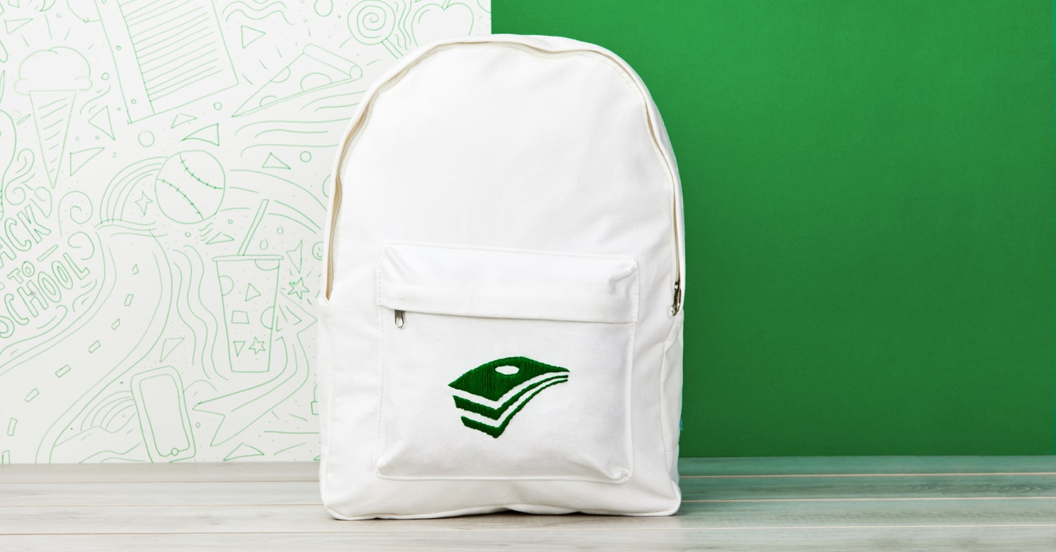 White backpack with EveryDollar logo