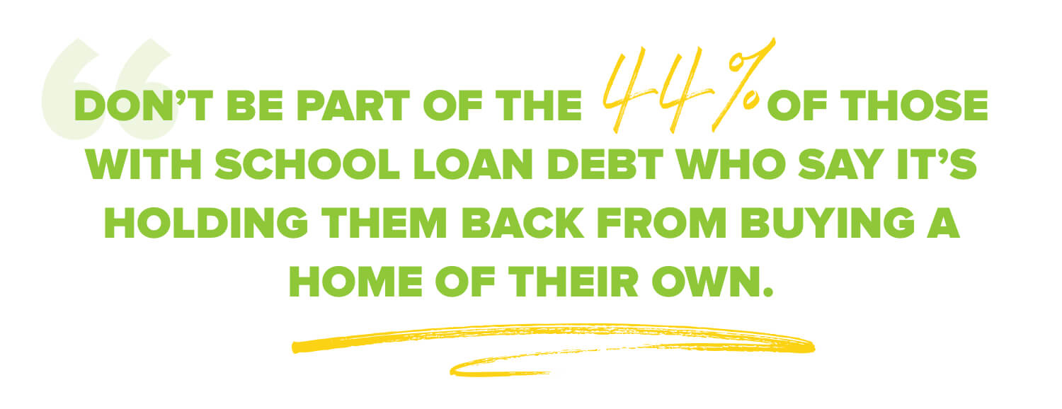 Don't be part of those 44% of people with school loan debt who say it's holding them back from buying a home of their own.