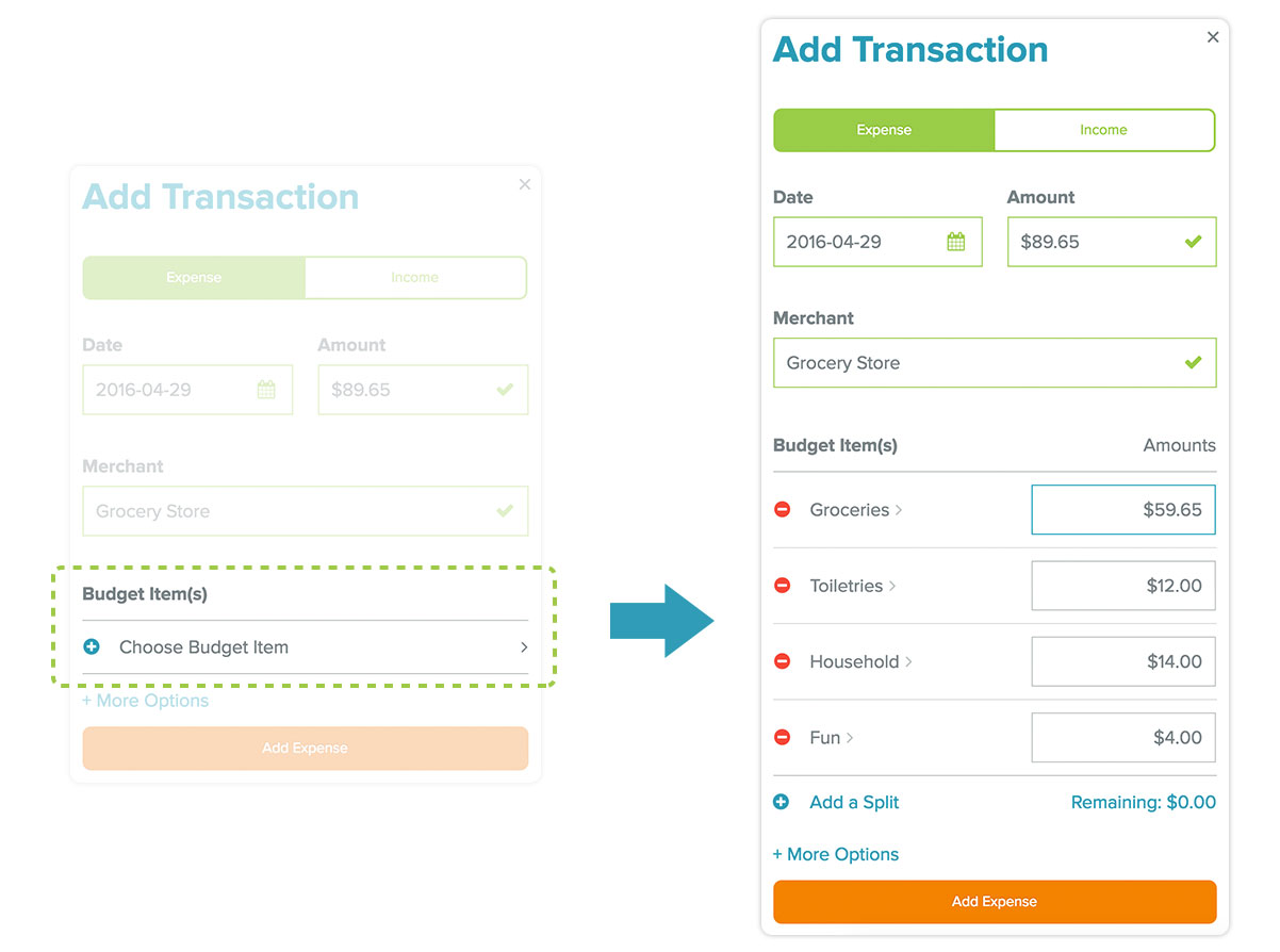 easily split grocery transactions with EveryDollar