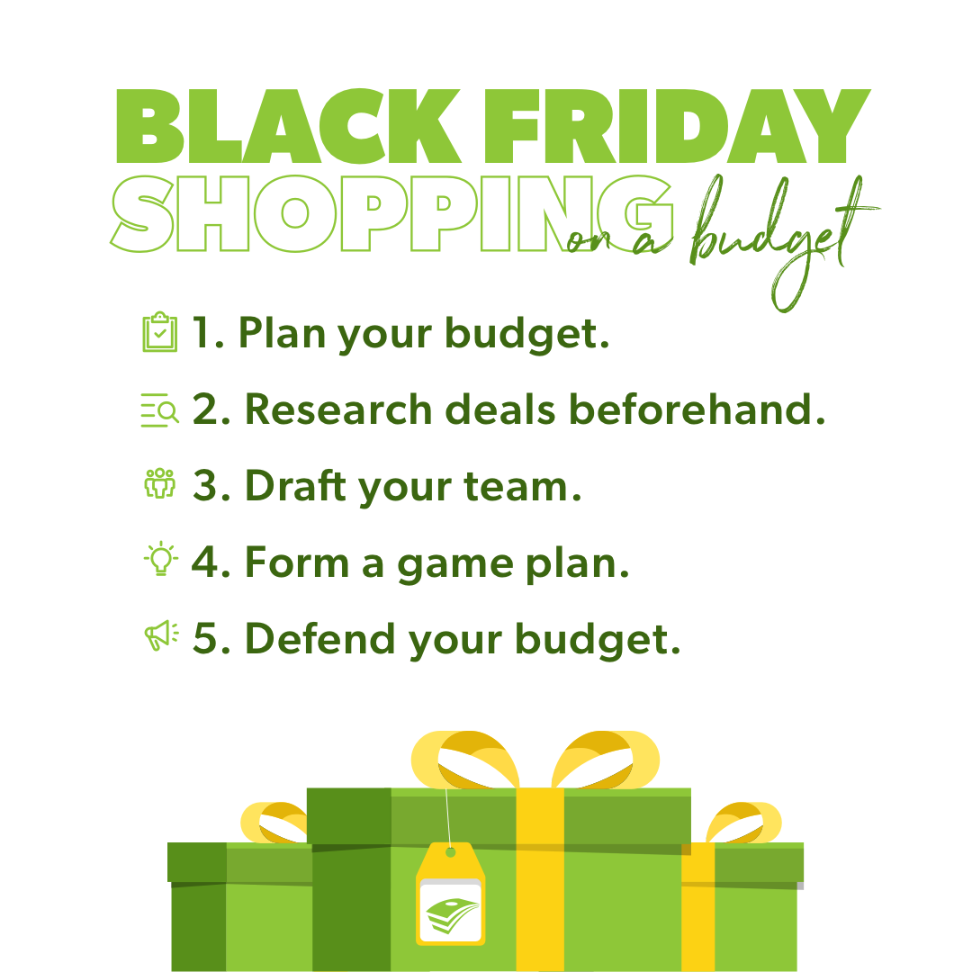 Black Friday shopping on a budget includes 5 steps.
