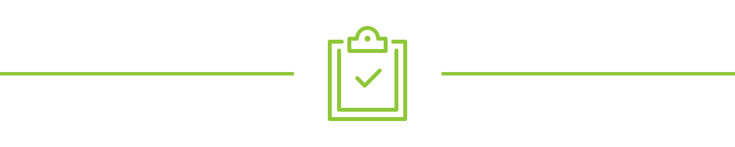 A clipboard icon with a check mark in the middle
