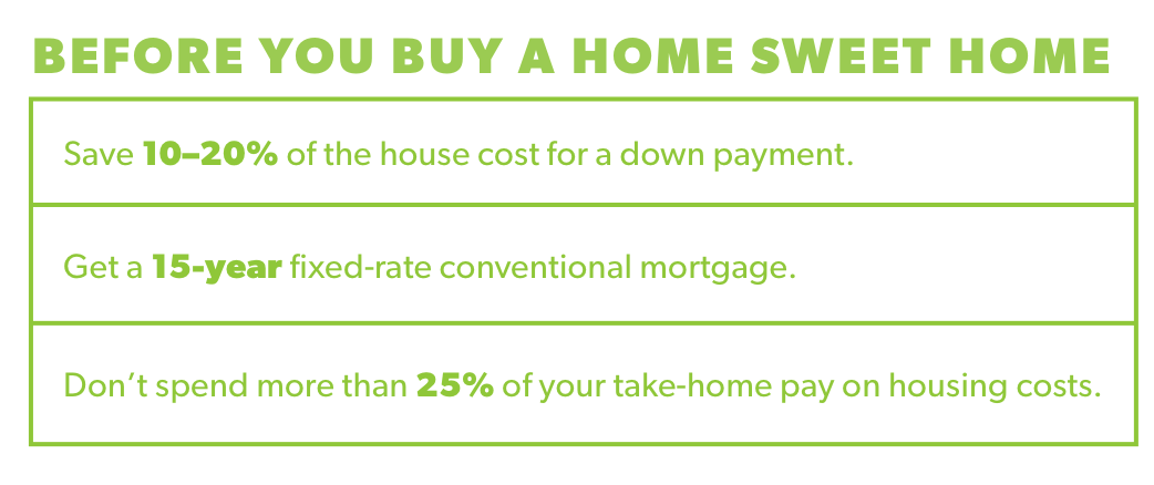 Before you buy a home sweet home, save 10-20% of the house cost on a down payment. Get a 15-year fixed rate conventional mortgage, and avoid spending more than 25% of your take-home pay on housing costs.