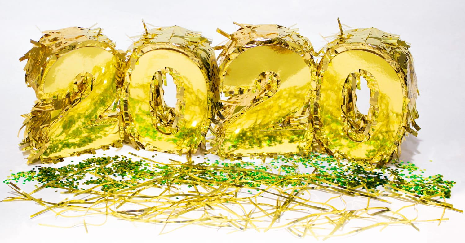 Gold 2020 with green confetti.