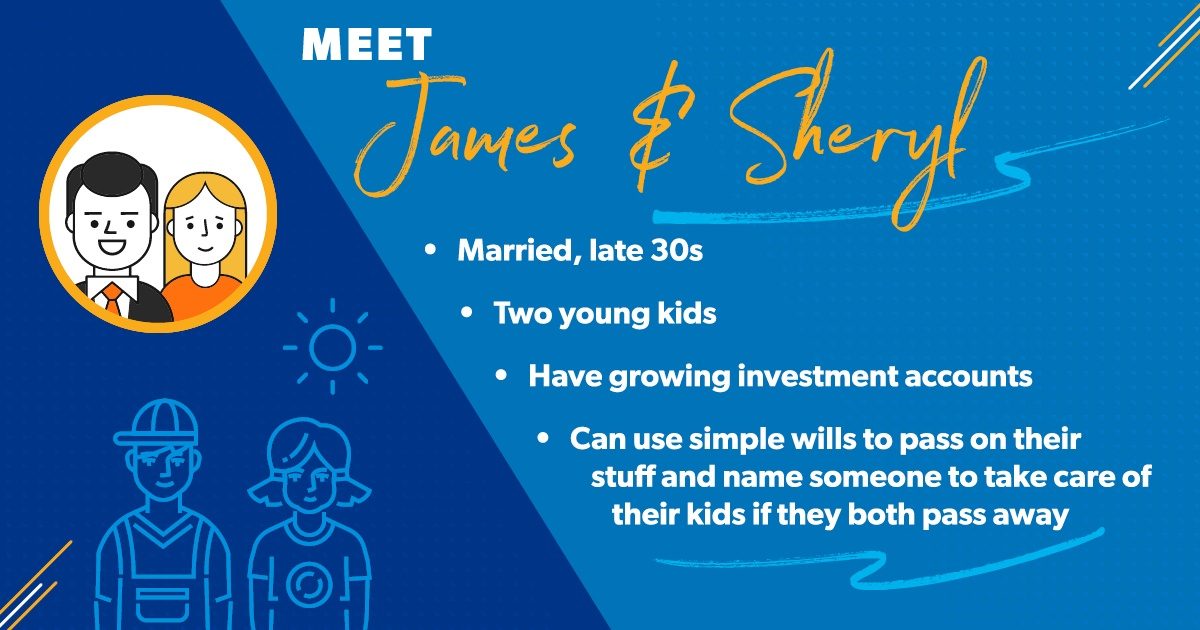 James and Sheryl are in their late 30s and have two kids. They have investment accounts, but those are still growing. They can use simple wills to pass on their stuff to each other if one of them dies. The couple can also name someone to take care of their kids if both of them were to pass away.