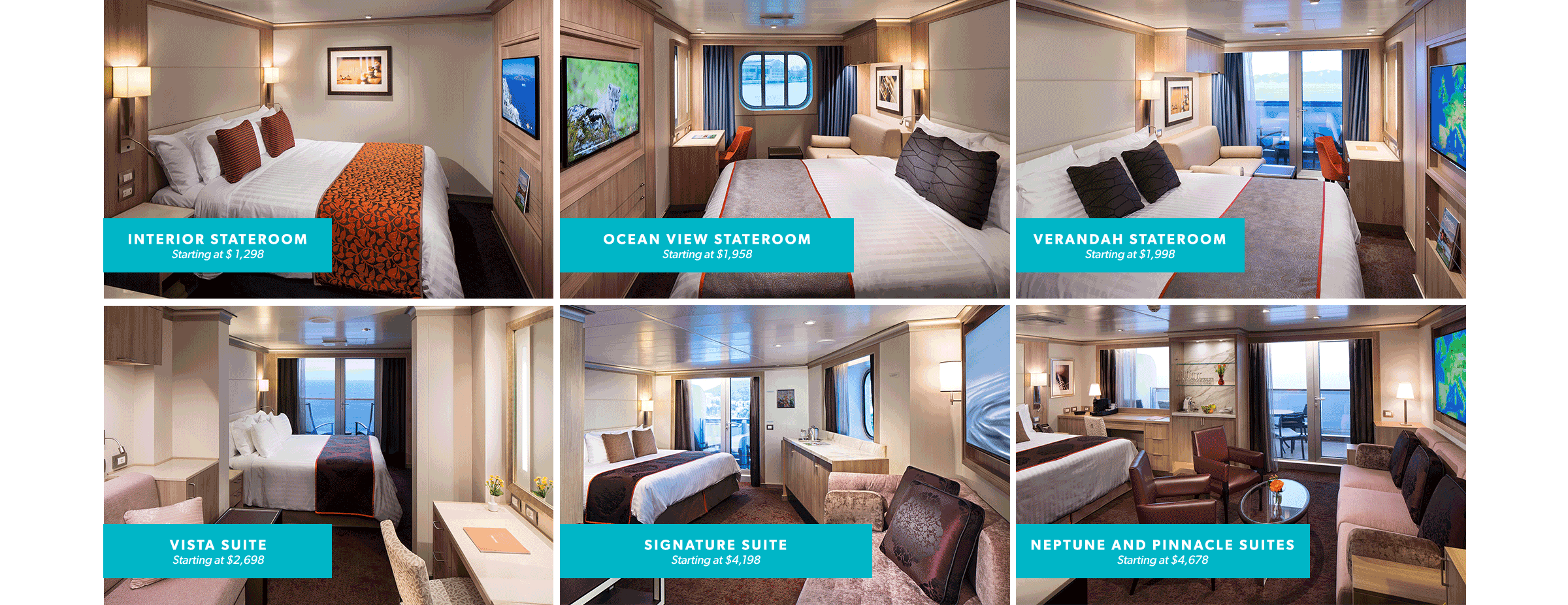 available suites and cabins