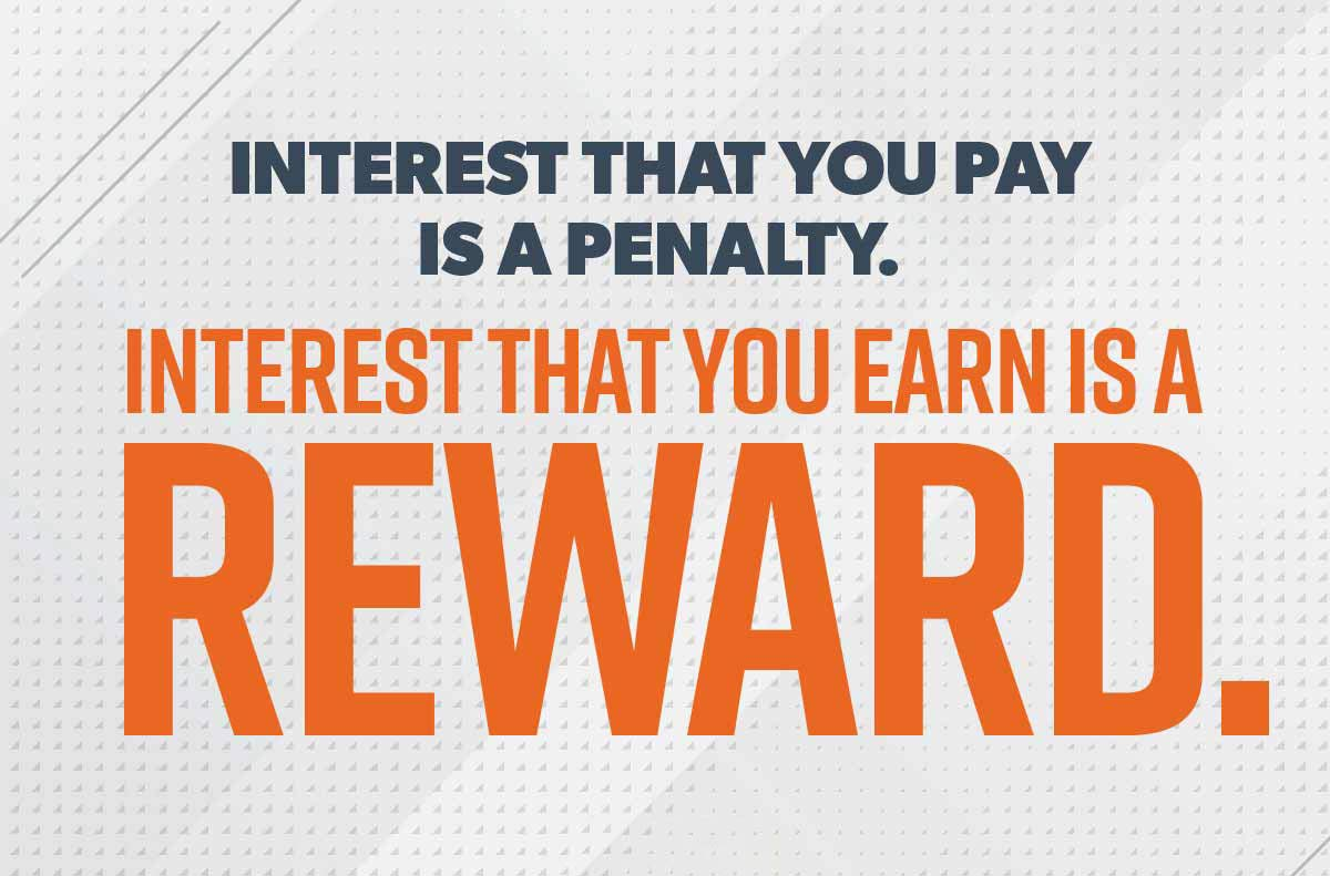 An image of the quote: Interest that you pay is a penalty; interest that you earn is a reward.
