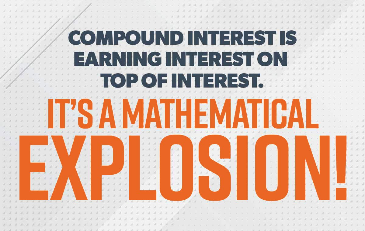 An image of this quote: Compound interest is earning interest on top of interest. It's like a mathematical explosion!