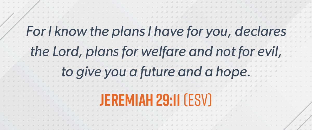 An image with a scripture from Jeremiah 29:11.