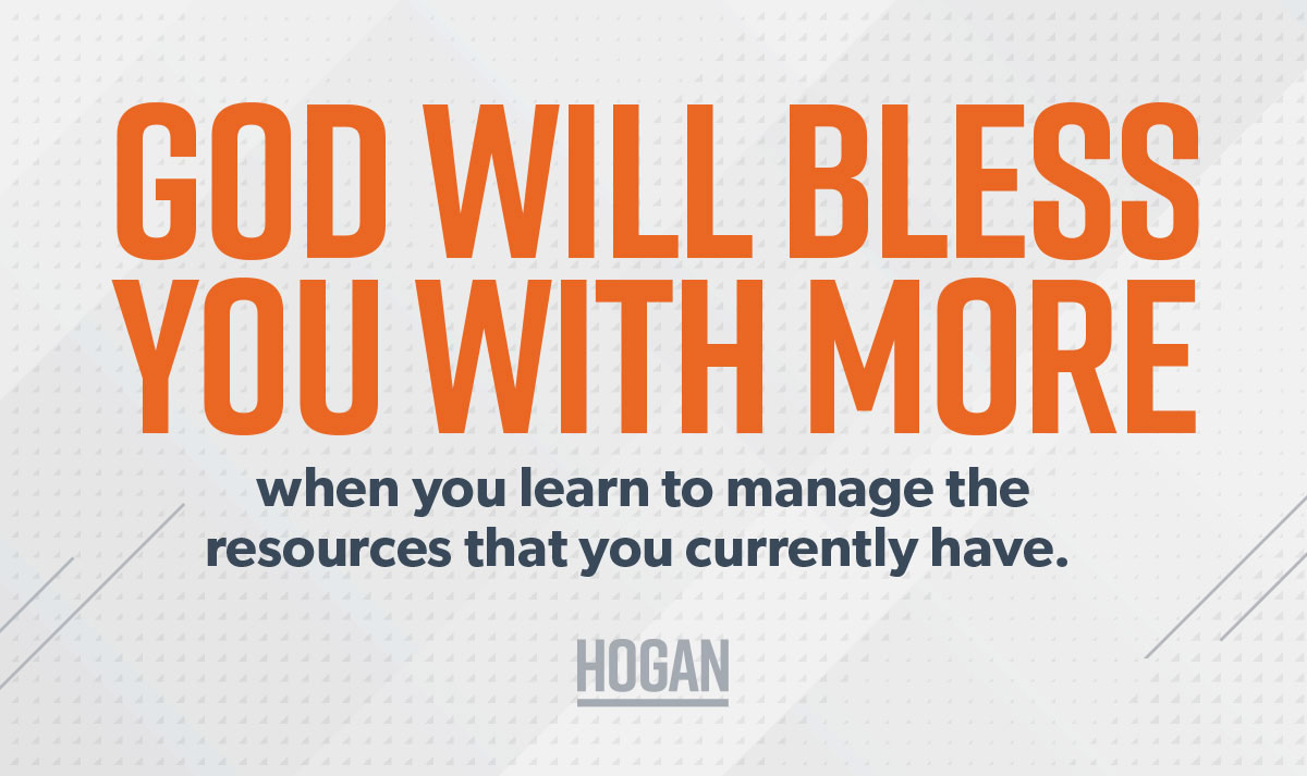 A picture with a quote about God blessing you with more when you handle your money well.