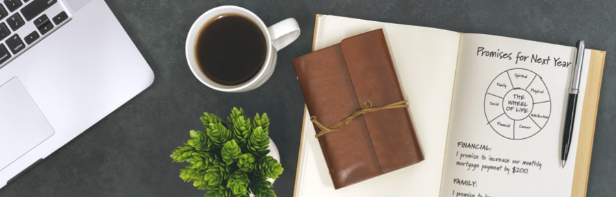 A coffee mug next to an open journal with
