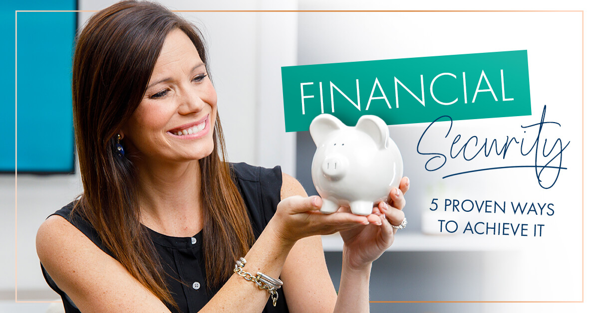 Rachel Cruze holding a piggy bank talking about financial security
