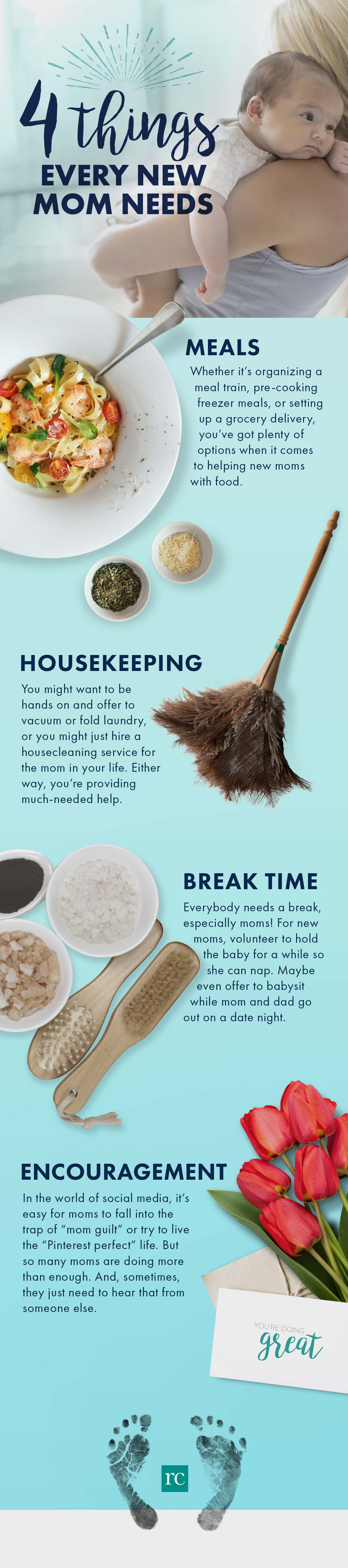 4 things every new mom needs infographic