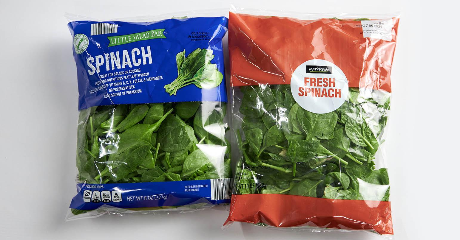 Aldi vs Walmart Spinach
