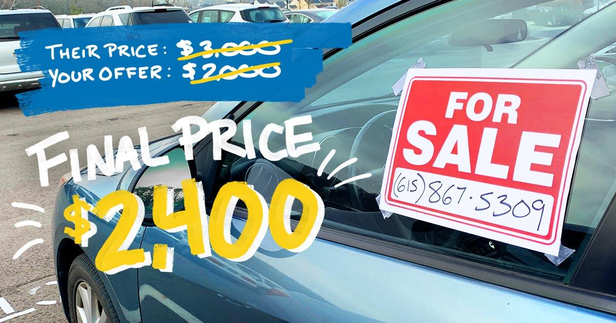 Negotiating a bargain at a car dealership