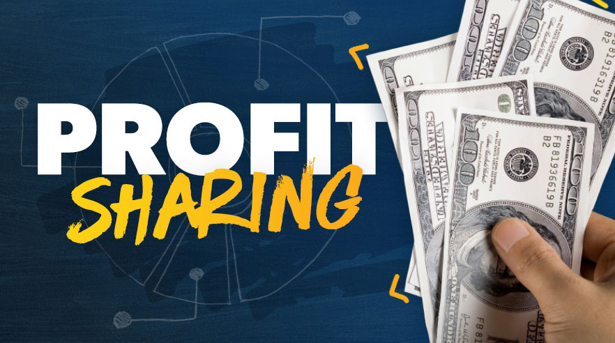 Profit Sharing: Hand holding hundred dollar bills