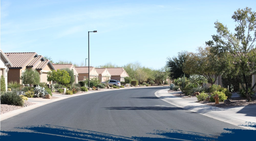 A view of a neighborhood street.