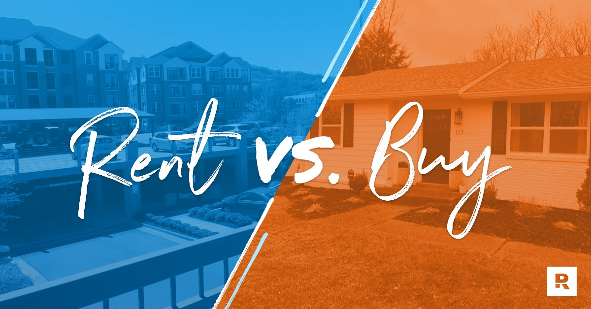 Buy vs rent written over a picture of an apartment and a house.
