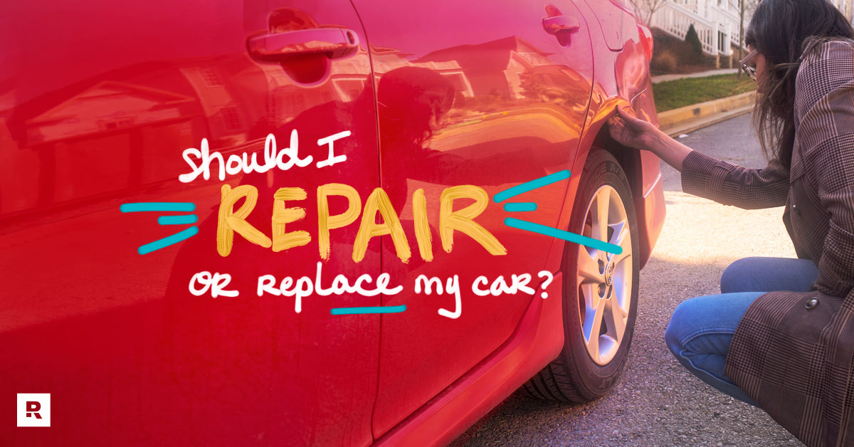 A woman looking at damage done to her car deciding whether she should repair or replace her car.