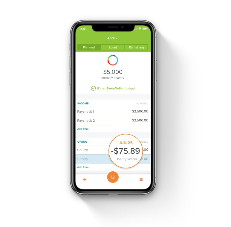 Every Dollar app shown on an iPhone
