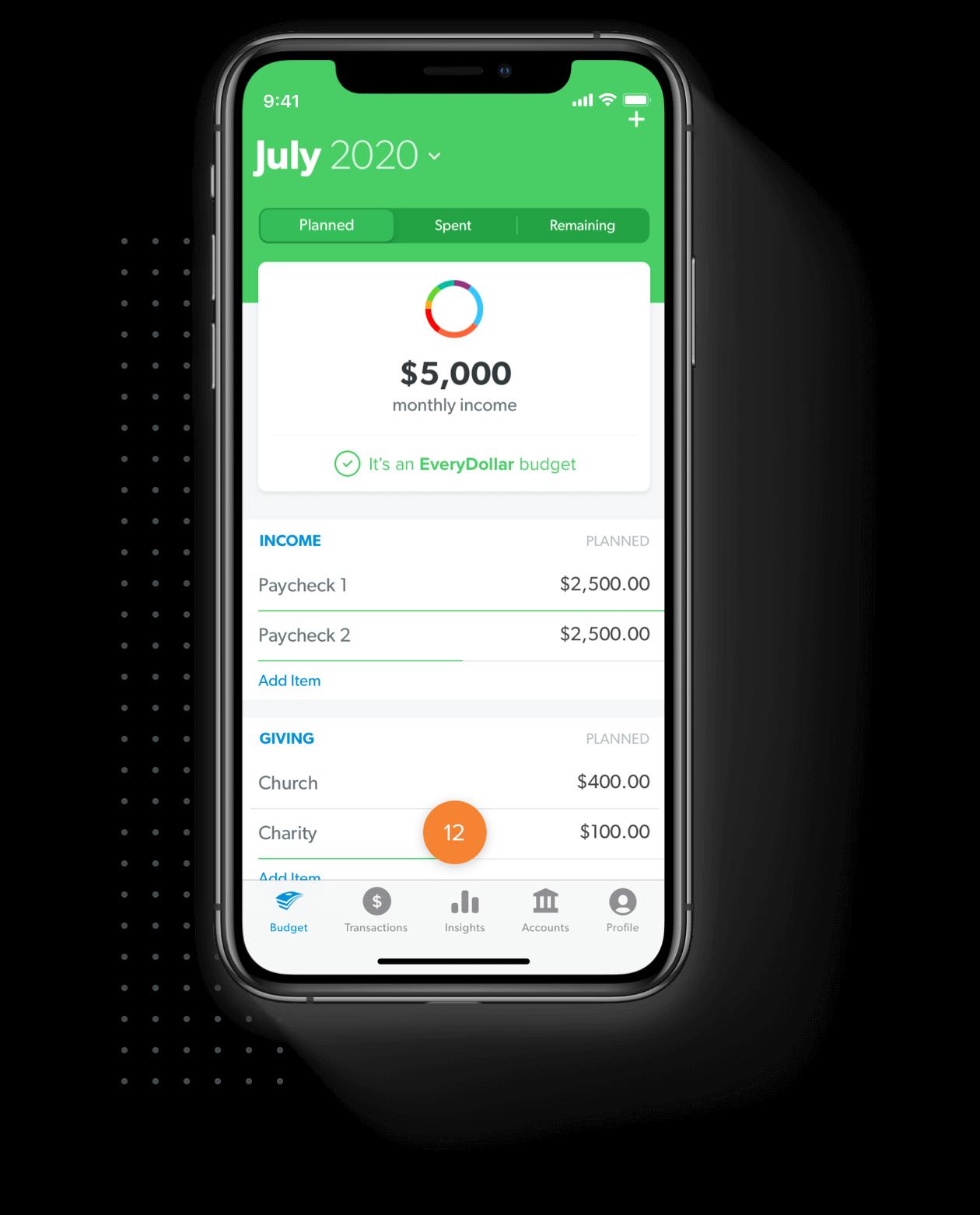 EveryDollar budget shown on mobile app