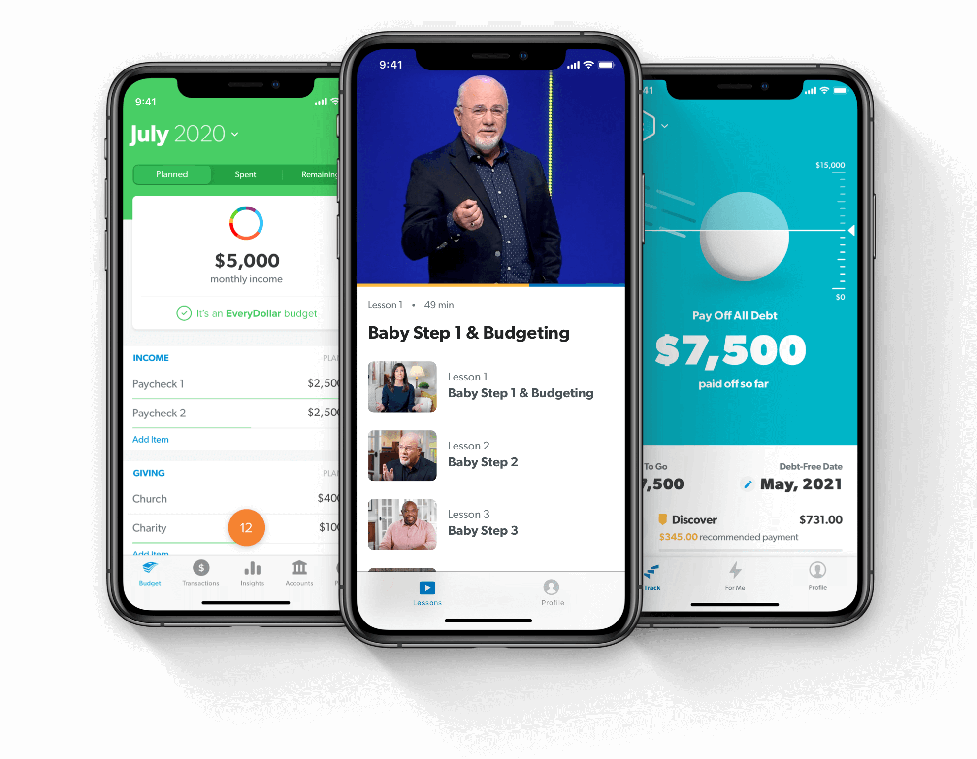 Financial Peace, EveryDollar, and BabySteps app shown on various devices
