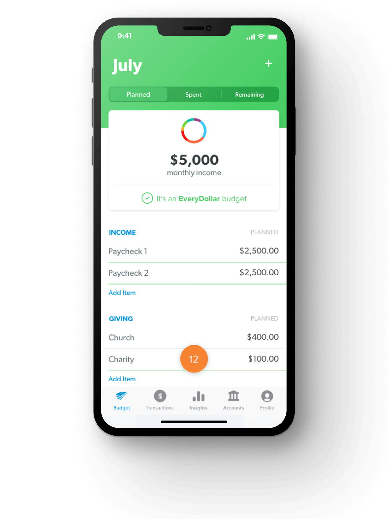 EveryDollar budgeting app on phone screen
