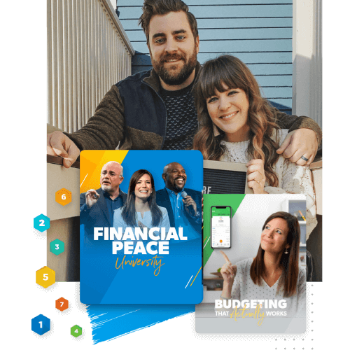 Couple smiling with Financial Peace University and budgeting course graphic below