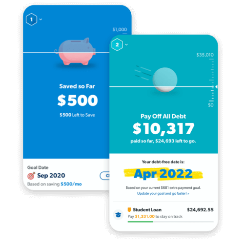 BabySteps money goal planner app previews featuring saving $1,000 emergency fund and attacking your debt snowball