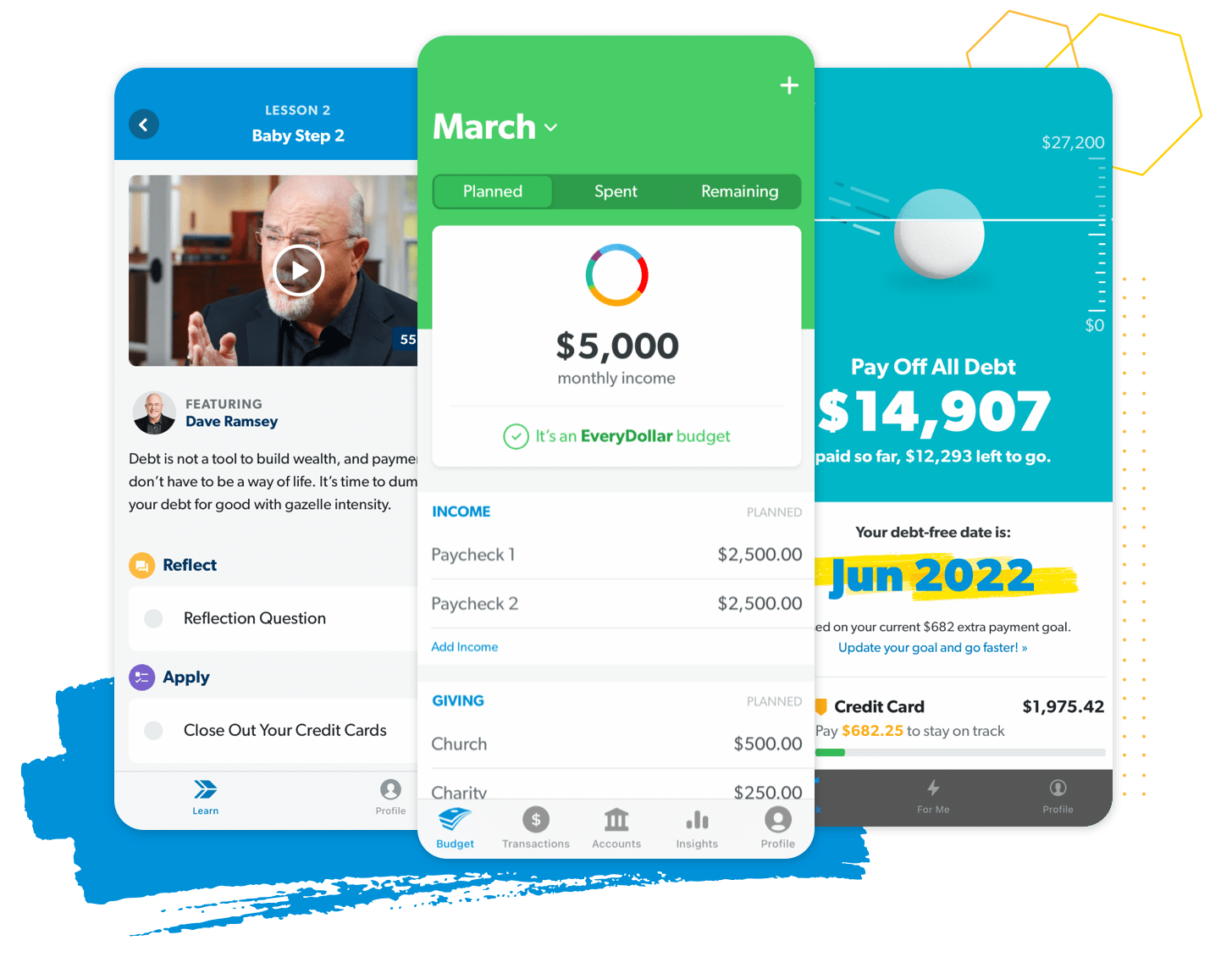 Three screen previews of Ramsey+ apps featuring video lessons, EveryDollar budgeting, and the debt snowball