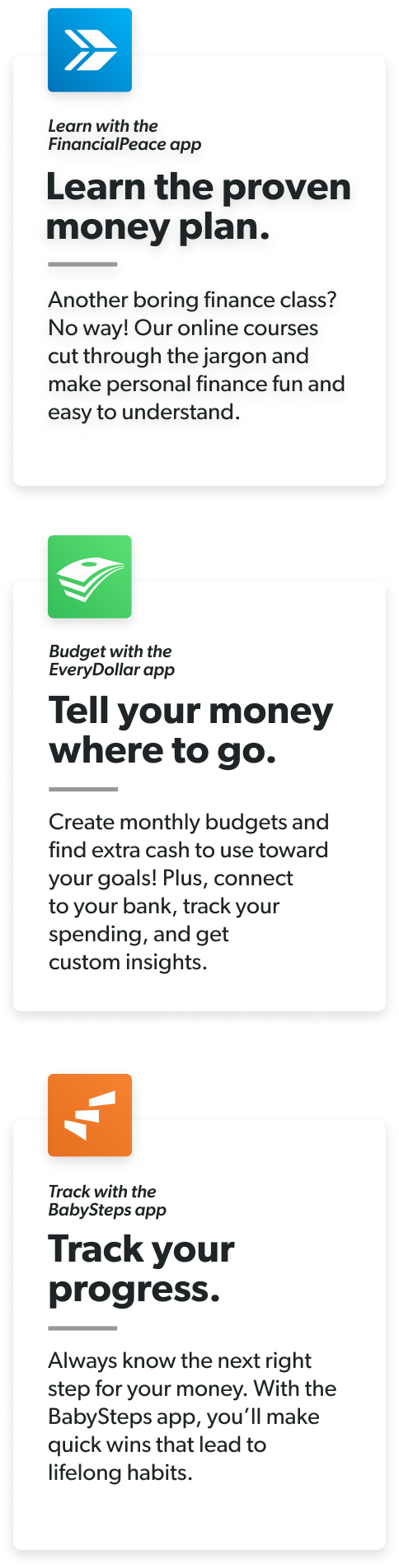 Learn the proven money plan. Tell your money where to go. Track your progress.