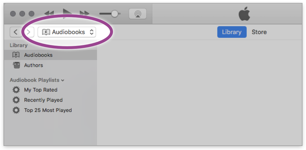 Apple iTunes showing filter type Audiobooks