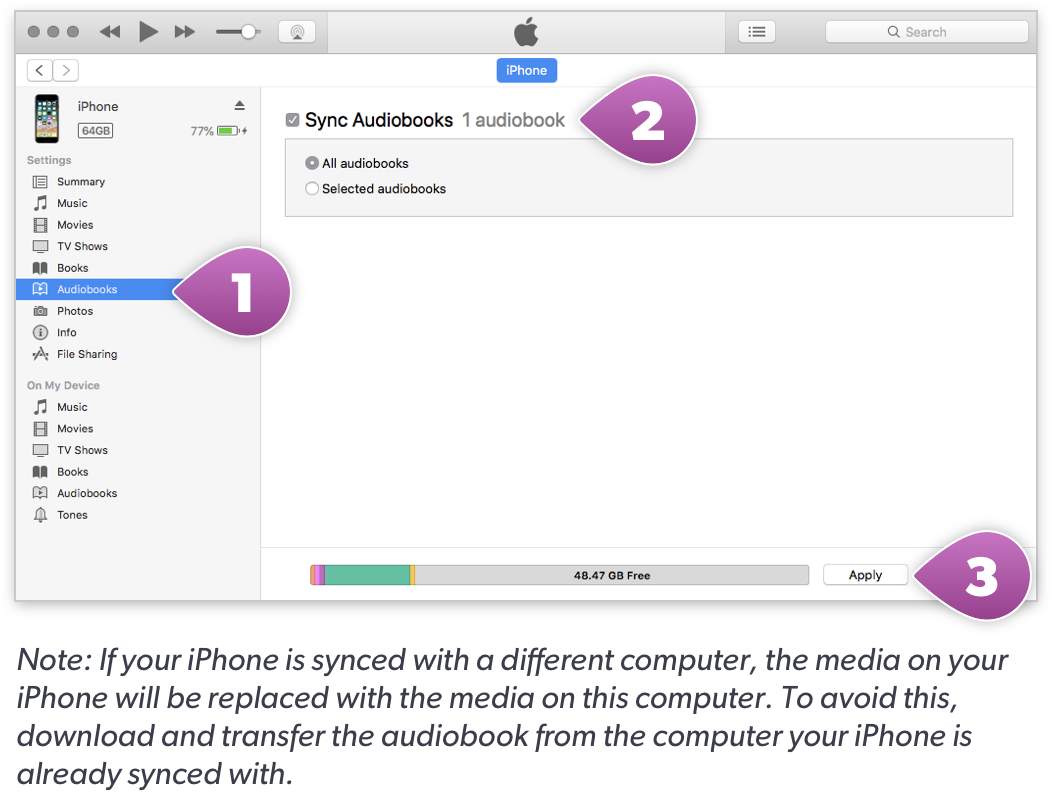 Apple iTunes showing Audiobooks category in menu bar