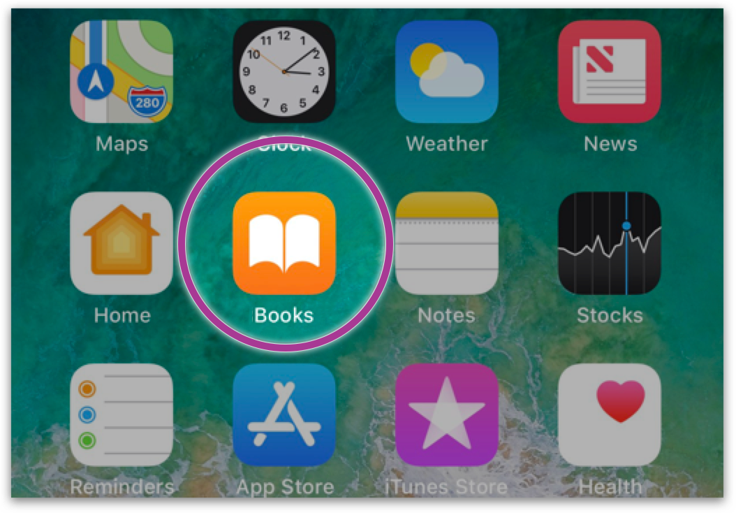 "Phone Screen with ""Books"" app circled"
