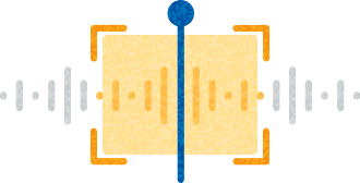 Drawing of a waveform with a playhead indicator and a highlighted section in yellow.